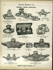1913 ADVERTISEMENT Sterling Silver Inkstand Ink Well Desk Set Cut Glass