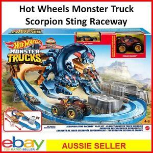 Hot Wheels Monster Truck Scorpion Sting Raceway Playset Race Track Racing Game