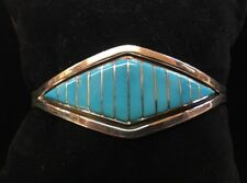 """WONDER WOMAN"" Sleeping Beauty Turquoise & Sterlin Cuff. Signed Marvin Lvarkie"