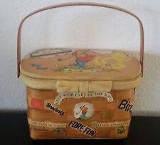 RETRO Vintage WOOD LID BASKET BOX PURSE HAND BAG Decoupage GOLF Country Club
