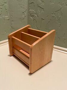 Basic Simple Freestanding Pine Wood Mail Organizer Letter Holder Storage