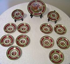 Rare Antique Dresden 13 Piece Royal Vienna Style Dessert Set 1899-1918