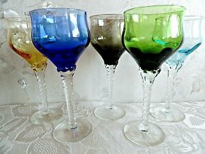 Set 5 Tall 17 cm Coloured Glasses Very Good Condition