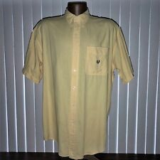 CRL Chaps Ralph Lauren Crest Button Down Yellow Short Sleeve Shirt Mens L Vtg