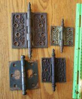 4 Hinges Cast Iron Vintage embossed Scroll design Antique door hinge mixed sizes