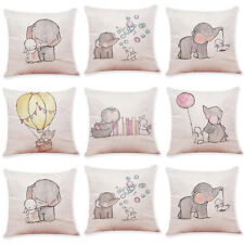 Cartoon Animal Linen Cushion Cover Throw Pillow Case Sofa Kids Bedroom Decor