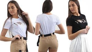 "Womens Ladies Short Sleeve T-Shirt ""VOGUE HEART "" Leopard Slogan Print Tee Top"