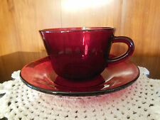 Vintage Ruby Red Glass Tea Coffee Cup and Saucer