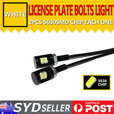 2x White 5630 SMD 2 LED Motorcycle Car Number License Plate Bolt Screw Light 12V
