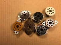 Lot of 7 Mixed Octal Vacuum Tube Sockets 8-pin Brown Ceramic Amphenol Black