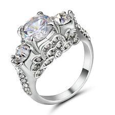 Round Cut White Topaz CZ Wedding/engagement Ring 10K White Gold Filled Size 6