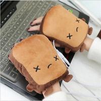 Cute Toast USB Hand Warmers USB Heating Gloves Half Fingerless Christmas Gifts