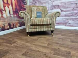 PARKER KNOLL BURGHLEY ARMCHAIR IN BASLOW STRIPE GOLD RRP £1150