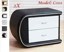 2 X PU Leather Bedside Tables With Drawer black & white