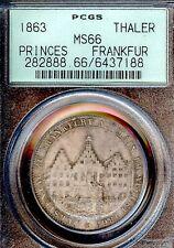 German States Frankfurt 1863 Taler Coin Thaler PCGS MS66 STG/STG UNC Deutsch