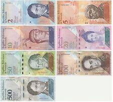 2 5 10 VENEZUELA 20 50 100 500 Bolivares Banknote UNC FIOR Set - 7 PZ