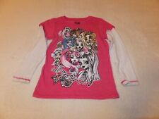 girls long sleeve pink Monster High character tee size xs 4/5