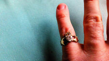 New  9ct GOLD Claddagh Ring ( Love, Loyalty & Friendship ) Size P  RHINESTONE