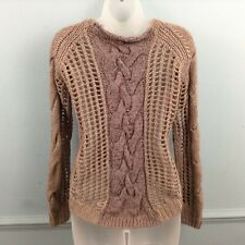 River Island womens jumper size UK 8 brown chunky cable knit slouch Wool Blend