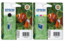 Genuine Epson T026 & T027 Fish Black & Color Original Ink jet Print Cartridges,