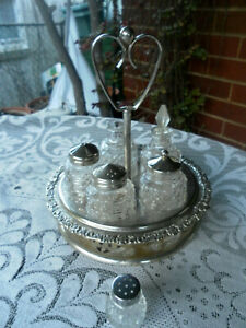 ANTIQUE/VINTAGE 5 pce CRYSTAL GLASS CRUET CONDIMENT SET ON REVOLVING CADDY/STAND