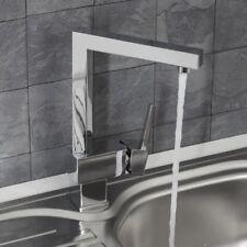 Modern Mono Kitchen Mixer Tap Square Chrome Single Lever Swivel Spout Faucet