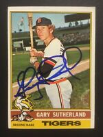 Gary Sutherland Tigers Signed 1976 Topps Baseball Card #113 Auto Autograph 1