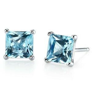 2.54 ct Princess Cut Swiss Blue Topaz Stud Earrings in 14K White Gold