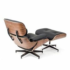 Eames Style Walnut Lounge Chair and Ottoman Set in Black Top Grain Leather