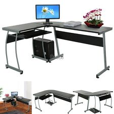 L Shape  Corner Black Computer PC Desk Table Workstation Home Office Furniture