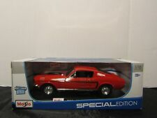1968 Ford Mustang GT Cobra Jet Maisto 1/18 Die Cast Model Car   RED   NEW/SEALED