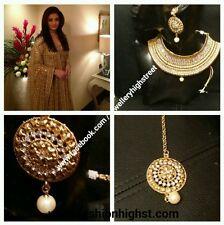 INDIAN/ PAKISTANI Bridal small Choker Gold necklace,earring & tikka jewellery.