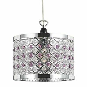 Sparkly Ceiling Pendant Shade with Clear and Purple Beads by Happy Homewares