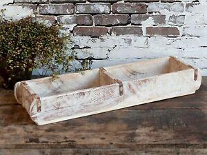 Ziegelform Alt Holz antik weiß Unikat Backsteinform Retro Wand Regal Dekokiste