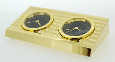 Novelty Miniature Dual Time Clock in Polished Gold Plate