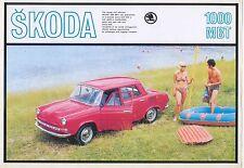 SKODA 1000 MBT Saloon circa 1968 ORIGINALE UK singolo foglio BROCHURE DI VENDITA