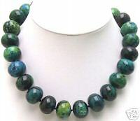 "18mm Cake Shape Round Chrysocolla Necklace for Women Jewelry Chokers 17"" nec5322"