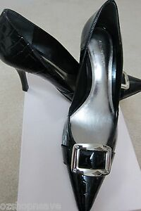 GENUINE ANN TAYLOR Black Leather Croco Pumps - Brand New