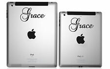 2 Personalised Custom Name iPad Mini Decal Sticker Lettering Curly Script Fancy