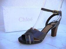 orig CHLOÉ CHLOE Gr 37,5 Sandaletten Heels Schuhe Shoes mokka moka  neu UVP 365€