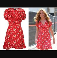 Topshop Red Meadow Flower Wrap Floral Print Celebrity Party Tea Dress Petite 4 0
