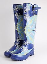 SPERRY TOP-SIDER Blue Nautical Anchor Tall Rubber Rain Boots - WOMEN'S SIZE 6