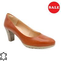 Cuero Mujer Zapatos de Tacón Noche Auténtico 6-cm Coñac Braun - Hecho En España
