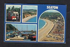 Posted c1980s Multiviews of Seaton: Trolley Bus: Harbour: Beach