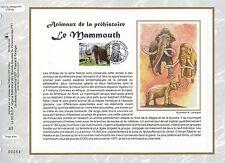 FEUILLET CEF / DOCUMENT PHILATELIQUE / ANIMAUX LE MAMMOUTH 2008 PARIS