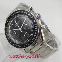 40mm Corgeut Schwarz Dial Steel Case Chronograph Quarz movement Uhr men's Watch