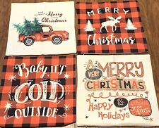 Set of 4 Buffalo Plaid Christmas Pillow 17x17 Inch Covers Farmhouse, Unbranded