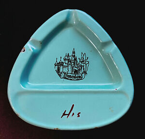 Disneyland Vintage Metal Souvenir Ashtray with Castle and Tinker Bell circa 50s