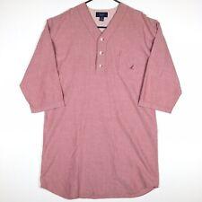 Nautica Sleepwear Men's 3/4 Sleeve Sleepshirt Size Large Cotton Red Nightshirt