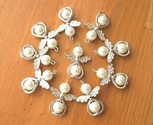 10 White Angel Charms Pendant Metal Heart Pearl Beads Xmas Tree Decoration